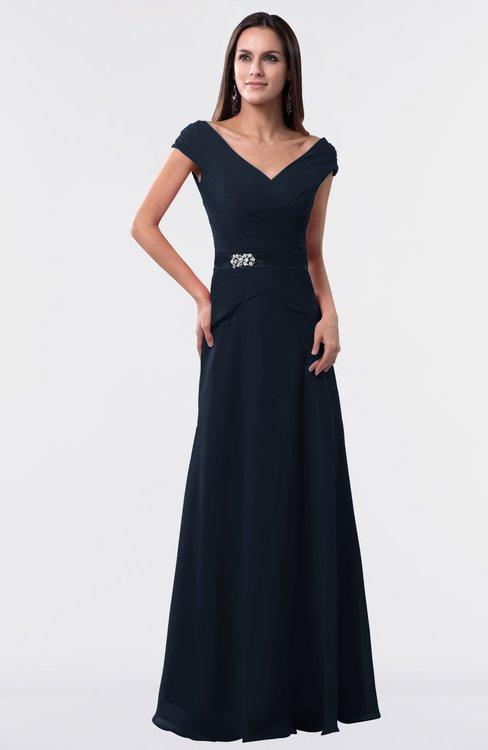 ColsBM Madelyn Navy Blue Informal A-line Portrait Zipper Floor Length Ruching Plus Size Bridesmaid Dresses