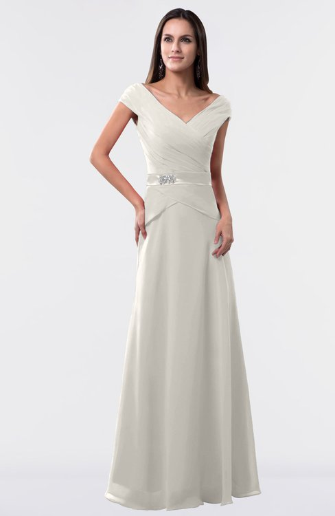 Off white informal a line portrait zipper floor length for Off white plus size wedding dresses