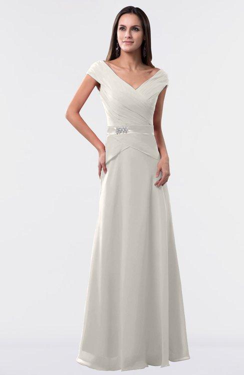 ColsBM Madelyn Off White Informal A-line Portrait Zipper Floor Length Ruching Plus Size Bridesmaid Dresses
