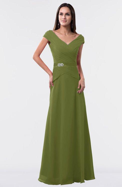 ColsBM Madelyn Olive Green Informal A-line Portrait Zipper Floor Length Ruching Plus Size Bridesmaid Dresses