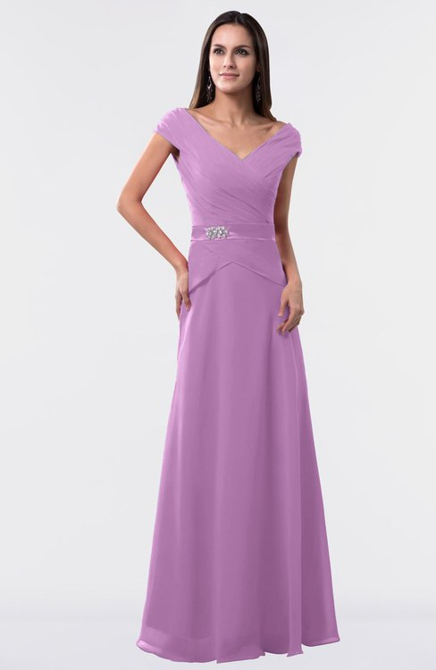 ColsBM Madelyn Orchid Informal A-line Portrait Zipper Floor Length Ruching Plus Size Bridesmaid Dresses