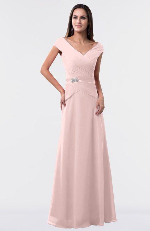ColsBM Madelyn Pastel Pink Informal A-line Portrait Zipper Floor Length Ruching Plus Size Bridesmaid Dresses
