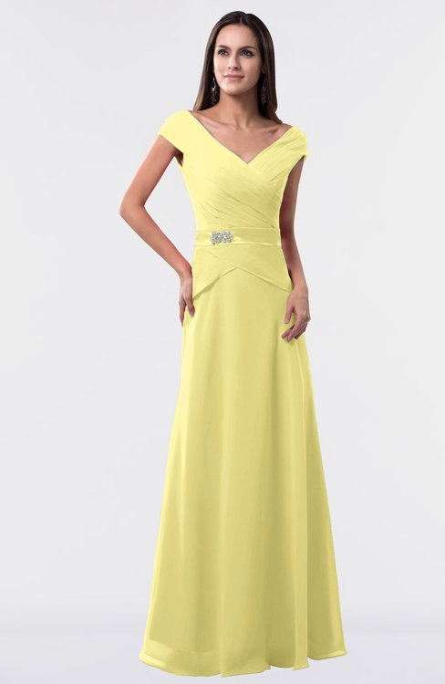 ColsBM Madelyn Pastel Yellow Informal A-line Portrait Zipper Floor Length Ruching Plus Size Bridesmaid Dresses