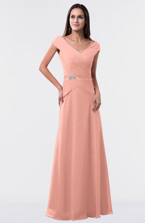 ColsBM Madelyn Peach Informal A-line Portrait Zipper Floor Length Ruching Plus Size Bridesmaid Dresses