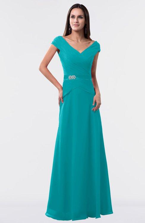 ColsBM Madelyn Peacock Blue Informal A-line Portrait Zipper Floor Length Ruching Plus Size Bridesmaid Dresses