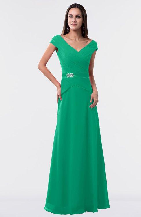 ColsBM Madelyn Pepper Green Informal A-line Portrait Zipper Floor Length Ruching Plus Size Bridesmaid Dresses