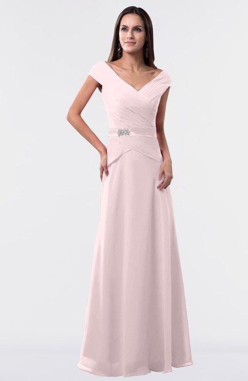 ColsBM Madelyn Petal Pink Informal A-line Portrait Zipper Floor Length Ruching Plus Size Bridesmaid Dresses