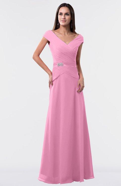 ColsBM Madelyn Pink Informal A-line Portrait Zipper Floor Length Ruching Plus Size Bridesmaid Dresses