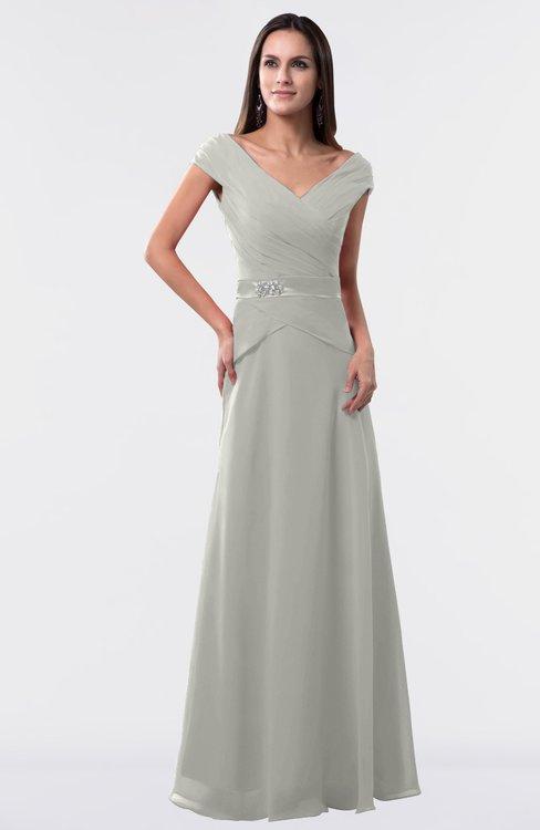 ColsBM Madelyn Platinum Informal A-line Portrait Zipper Floor Length Ruching Plus Size Bridesmaid Dresses