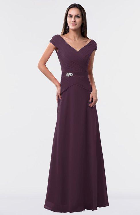 ColsBM Madelyn Plum Informal A-line Portrait Zipper Floor Length Ruching Plus Size Bridesmaid Dresses