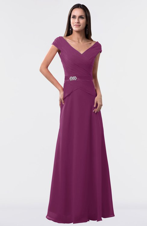 ColsBM Madelyn Raspberry Informal A-line Portrait Zipper Floor Length Ruching Plus Size Bridesmaid Dresses