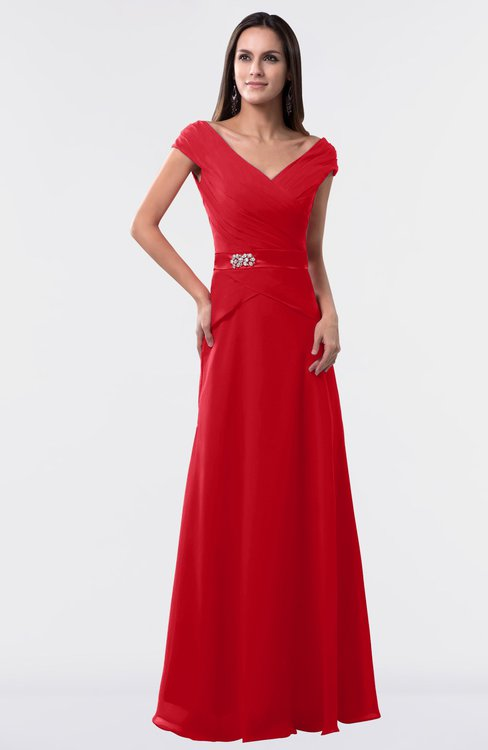 ColsBM Madelyn Red Informal A-line Portrait Zipper Floor Length Ruching Plus Size Bridesmaid Dresses