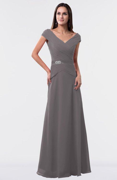 ColsBM Madelyn Ridge Grey Informal A-line Portrait Zipper Floor Length Ruching Plus Size Bridesmaid Dresses