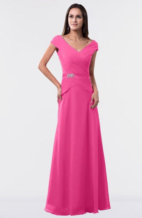 ColsBM Madelyn Rose Pink Informal A-line Portrait Zipper Floor Length Ruching Plus Size Bridesmaid Dresses
