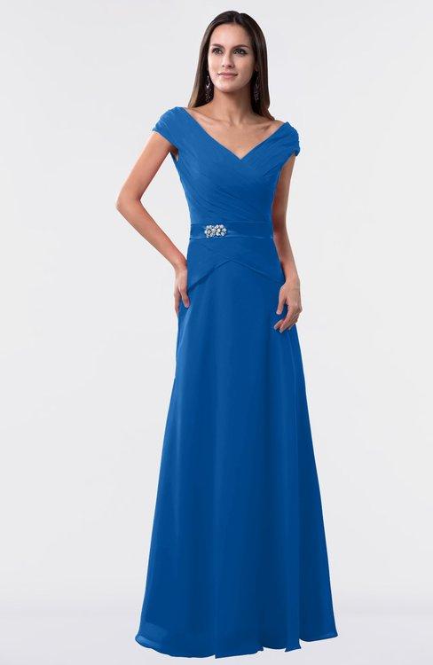 ColsBM Madelyn Royal Blue Informal A-line Portrait Zipper Floor Length Ruching Plus Size Bridesmaid Dresses