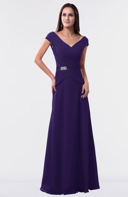 ColsBM Madelyn Royal Purple Informal A-line Portrait Zipper Floor Length Ruching Plus Size Bridesmaid Dresses