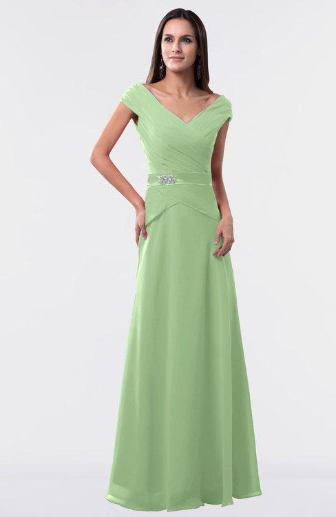 ColsBM Madelyn Sage Green Informal A-line Portrait Zipper Floor Length Ruching Plus Size Bridesmaid Dresses