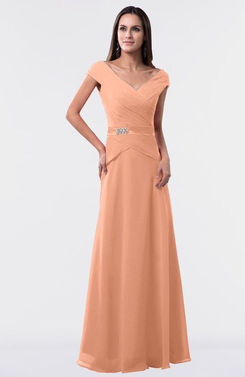 ColsBM Madelyn Salmon Informal A-line Portrait Zipper Floor Length Ruching Plus Size Bridesmaid Dresses