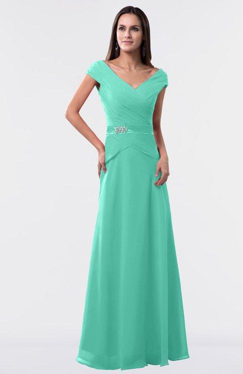 ColsBM Madelyn Seafoam Green Informal A-line Portrait Zipper Floor Length Ruching Plus Size Bridesmaid Dresses