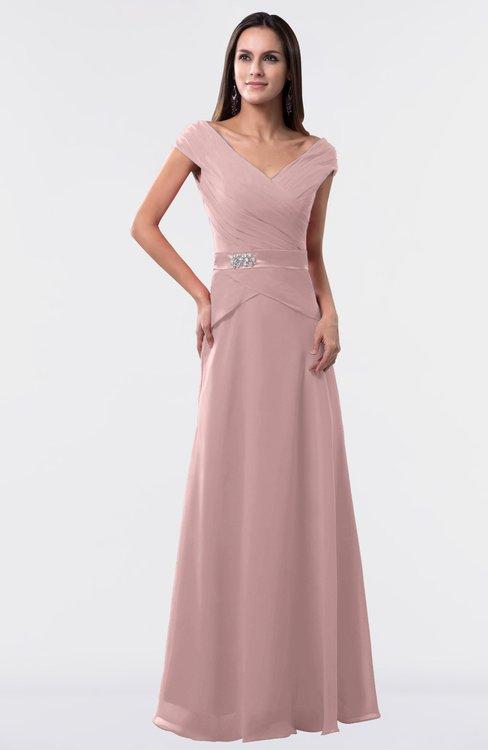 ColsBM Madelyn Silver Pink Informal A-line Portrait Zipper Floor Length Ruching Plus Size Bridesmaid Dresses