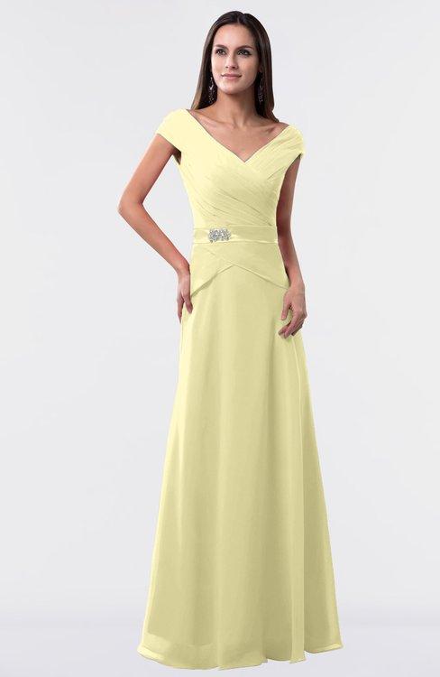 ColsBM Madelyn Soft Yellow Informal A-line Portrait Zipper Floor Length Ruching Plus Size Bridesmaid Dresses