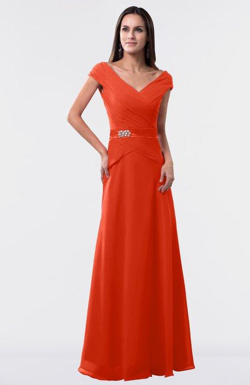 ColsBM Madelyn Tangerine Tango Informal A-line Portrait Zipper Floor Length Ruching Plus Size Bridesmaid Dresses