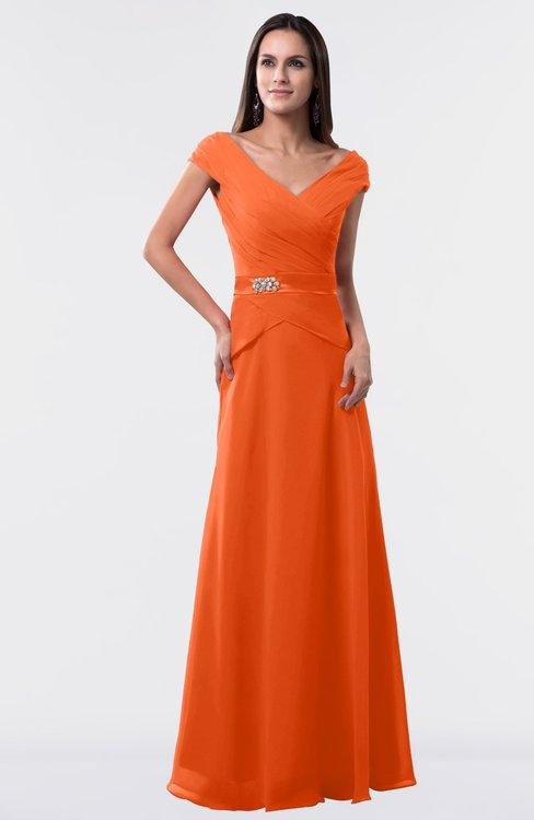 ColsBM Madelyn Tangerine Informal A-line Portrait Zipper Floor Length Ruching Plus Size Bridesmaid Dresses