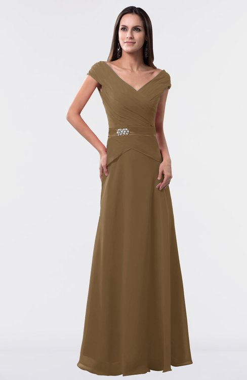 ColsBM Madelyn Truffle Informal A-line Portrait Zipper Floor Length Ruching Plus Size Bridesmaid Dresses