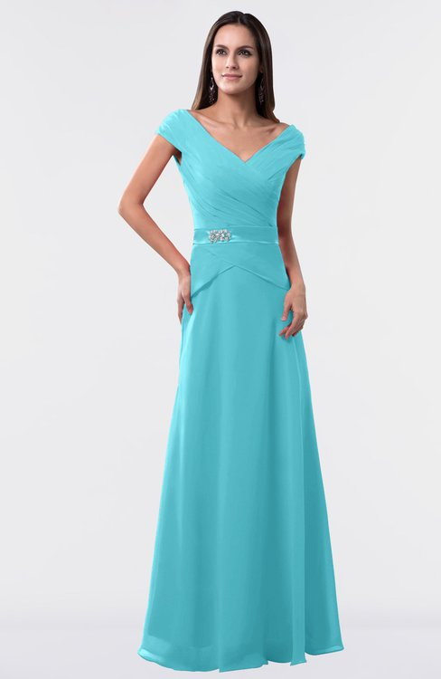 ColsBM Madelyn Turquoise Informal A-line Portrait Zipper Floor Length Ruching Plus Size Bridesmaid Dresses