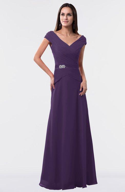 ColsBM Madelyn Violet Informal A-line Portrait Zipper Floor Length Ruching Plus Size Bridesmaid Dresses