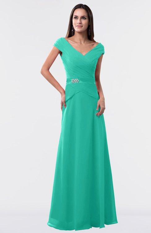 ColsBM Madelyn Viridian Green Informal A-line Portrait Zipper Floor Length Ruching Plus Size Bridesmaid Dresses