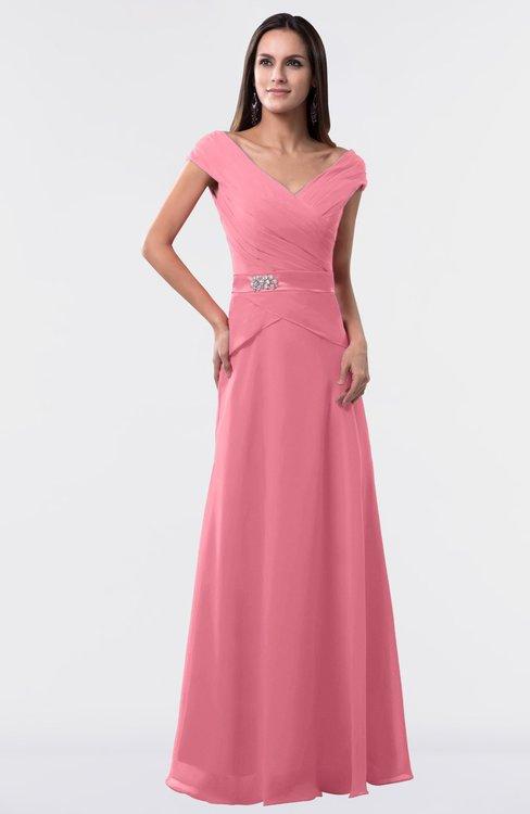 ColsBM Madelyn Watermelon Informal A-line Portrait Zipper Floor Length Ruching Plus Size Bridesmaid Dresses