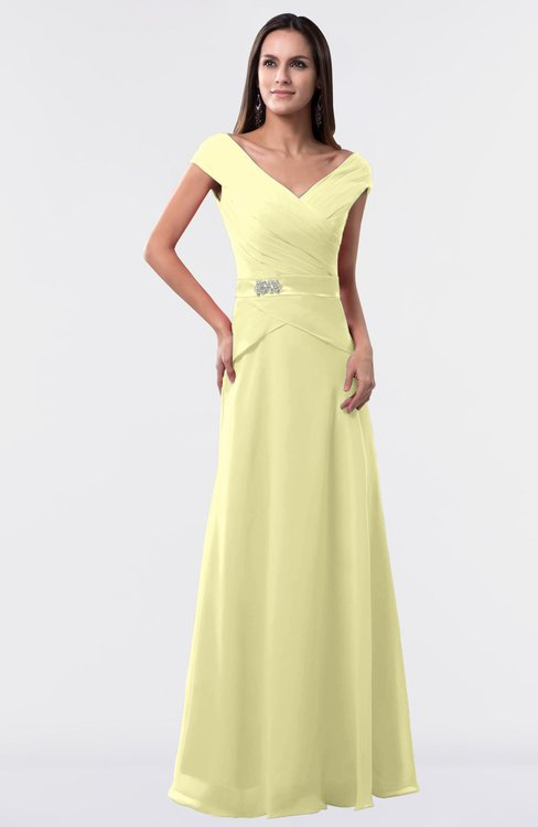 ColsBM Madelyn Wax Yellow Informal A-line Portrait Zipper Floor Length Ruching Plus Size Bridesmaid Dresses