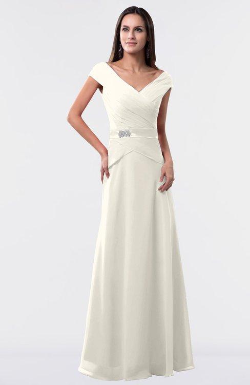 ColsBM Madelyn Whisper White Informal A-line Portrait Zipper Floor Length Ruching Plus Size Bridesmaid Dresses