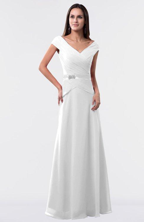 ColsBM Madelyn White Informal A-line Portrait Zipper Floor Length Ruching Plus Size Bridesmaid Dresses