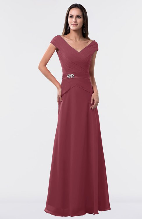 ColsBM Madelyn Wine Informal A-line Portrait Zipper Floor Length Ruching Plus Size Bridesmaid Dresses
