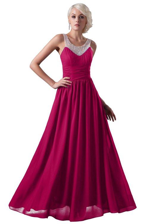 ColsBM Cora Beetroot Purple Cute A-line Scoop Sleeveless Zipper Beading Plus Size Bridesmaid Dresses