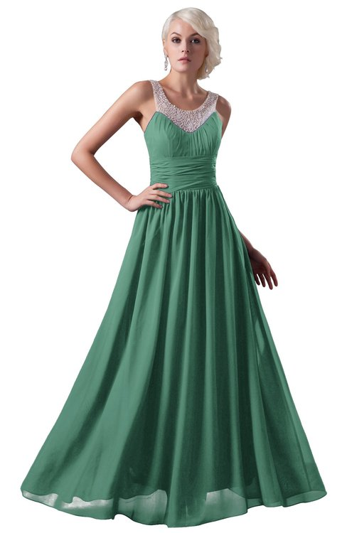ColsBM Cora Beryl Green Cute A-line Scoop Sleeveless Zipper Beading Plus Size Bridesmaid Dresses