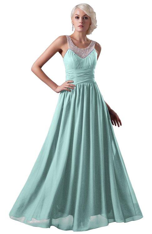 ColsBM Cora Blue Glass Cute A-line Scoop Sleeveless Zipper Beading Plus Size Bridesmaid Dresses