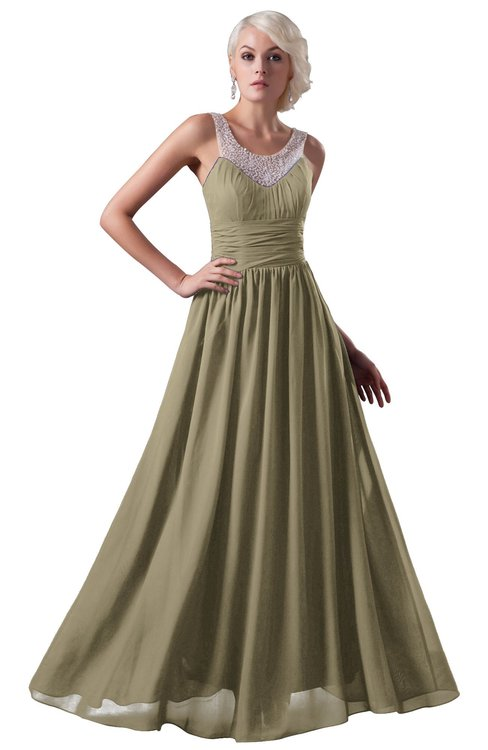 ColsBM Cora Candied Ginger Cute A-line Scoop Sleeveless Zipper Beading Plus Size Bridesmaid Dresses