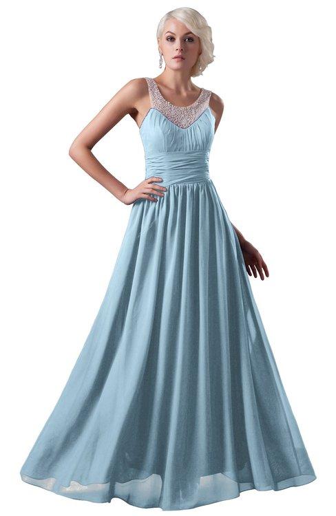 ColsBM Cora Ice Blue Cute A-line Scoop Sleeveless Zipper Beading Plus Size Bridesmaid Dresses