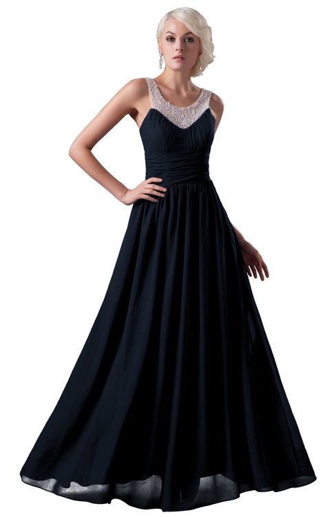 ColsBM Cora Navy Blue Cute A-line Scoop Sleeveless Zipper Beading Plus Size Bridesmaid Dresses