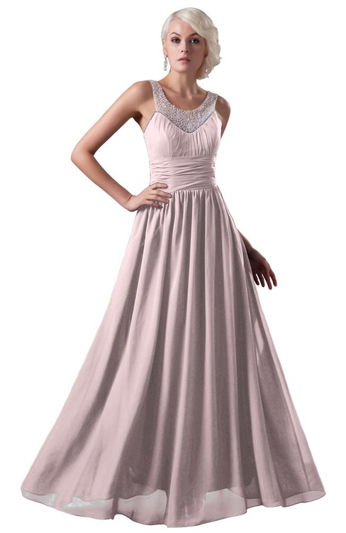ColsBM Cora Petal Pink Cute A-line Scoop Sleeveless Zipper Beading Plus Size Bridesmaid Dresses