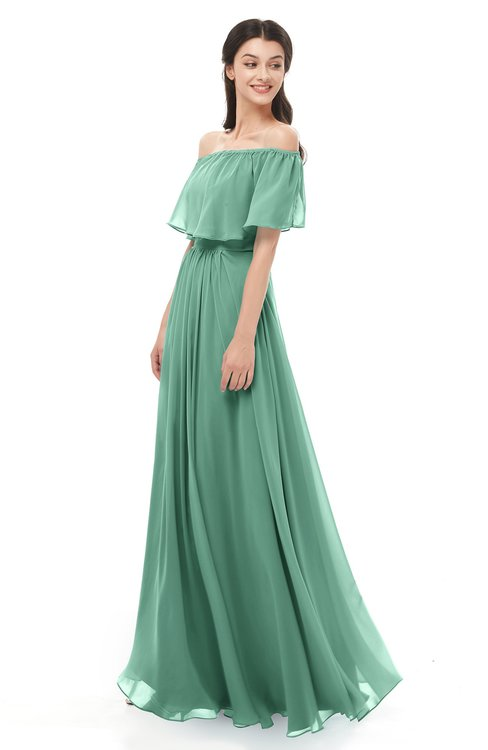 ColsBM Hana Beryl Green Bridesmaid Dresses Romantic Short Sleeve Floor Length Pleated A-line Off The Shoulder