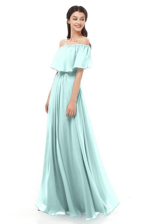 ColsBM Hana Blue Glass Bridesmaid Dresses Romantic Short Sleeve Floor Length Pleated A-line Off The Shoulder