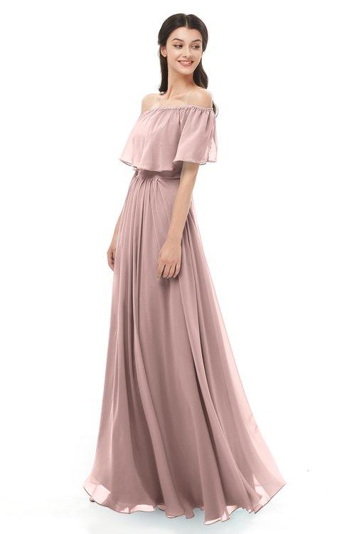 ColsBM Hana Blush Pink Bridesmaid Dresses Romantic Short Sleeve Floor Length Pleated A-line Off The Shoulder