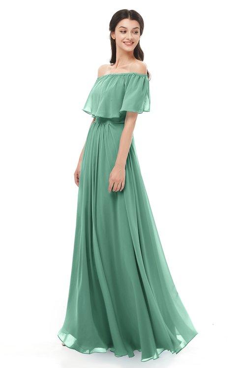 ColsBM Hana Bristol Blue Bridesmaid Dresses Romantic Short Sleeve Floor Length Pleated A-line Off The Shoulder