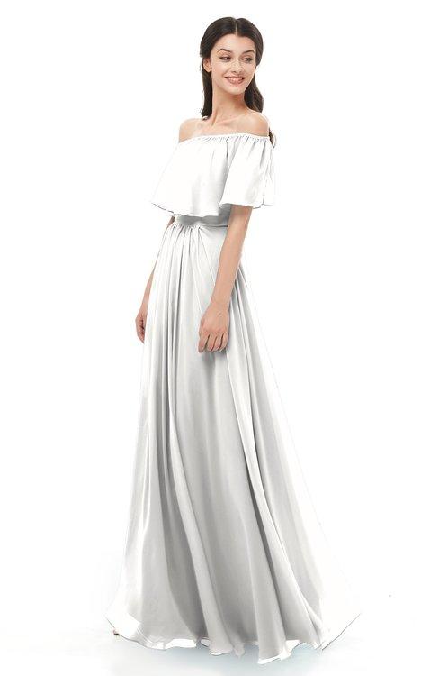 ColsBM Hana Cloud White Bridesmaid Dresses Romantic Short Sleeve Floor Length Pleated A-line Off The Shoulder