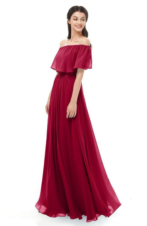 ColsBM Hana Dark Red Bridesmaid Dresses Romantic Short Sleeve Floor Length Pleated A-line Off The Shoulder