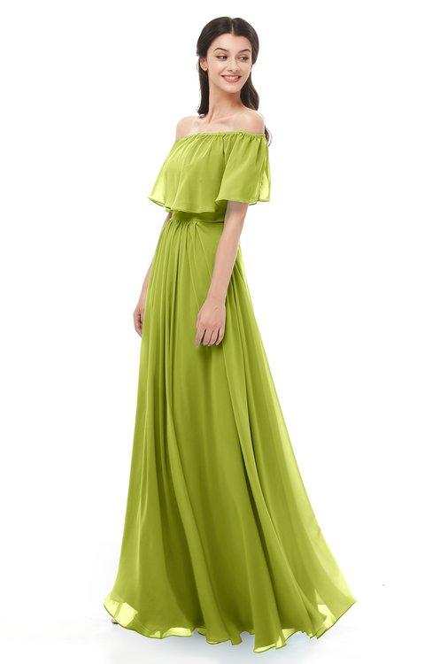 ColsBM Hana Green Oasis Bridesmaid Dresses Romantic Short Sleeve Floor Length Pleated A-line Off The Shoulder